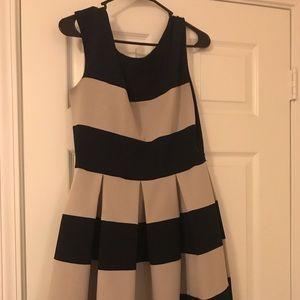 Nautical Striped Pleated Dress